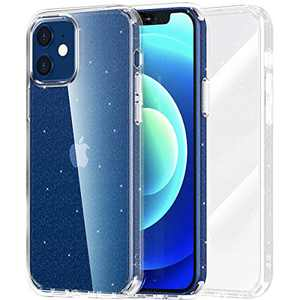 """Meifigno Glitter Compatible with iPhone 12 Mini Case, Hard PC with Soft TPU Edge, [Military Level Protection][Green Materials], Clear Case Designed for iPhone 12 Mini 5.4"""" 2020, Glitter Clear"""