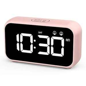 HOMVILLA LED Digital Alarm Clock, Bedside Clock with 40 Optional Ringtones Nap Time Setting, Week Display, 8 Adjustable Alarm Volume, Snooze 12/24 Hours, Dual Alarm for Bedroom, Office Living Room