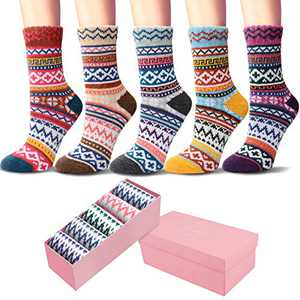 5 Pack Womens Socks Vintage Winter Soft Warm Cold Knit Wool Crew Socks with Beautiful Gift Box
