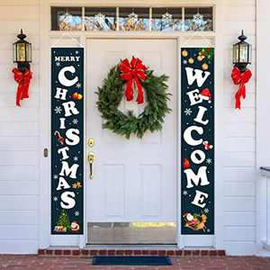 Christmas Decorations Welcome Merry Christmas Porch Sign Outdoor Xmas Banner for Home Front Door