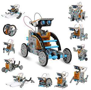 KIDCHEER STEM 12-in-1 DIY Solar Robot Toys 190PCS Science Experiment Kit for Kids 8+ Educational Solar Building Set Indoor Outdoor Toys