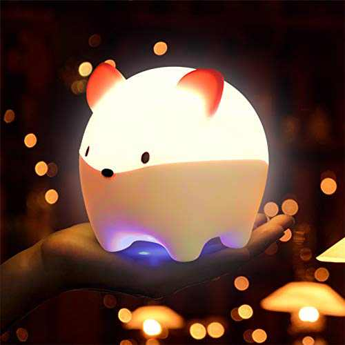Night Light for Kids, Maxuni Naughty Mouse Baby Night Light, ABS+PC+Silicone Nursery Light with Portable 9 Color Changing, USB Rechargeable Light with Touch Control & Timer Setting