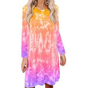 Women's Tie Dye Tank Sleeveless Knee Length Pleated Sun Dresses Pajama Sleep Shirt Lounge Dress (XL, D-Yellow+Purple)