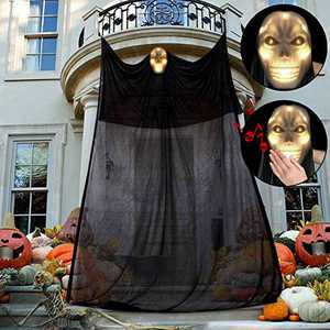 Apsung 12.46ft Halloween Decorations, LED Hanging Flying Gauze Ghost Decorations with Scary Creepy Voice, Upgraded Haunted House Toy for Indoor Outdoor Garden Lawn Party