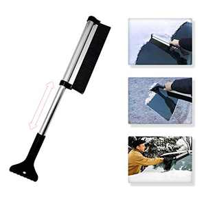 Huryfox Extendable Snow Brush with Ice Scraper for Car Windshield Window Snow Cleaning Ice Remover for SUV Trucks Automotive Accessories (24inch, Black)