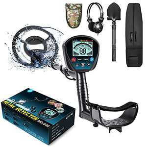 "Professional Metal Detector for Adults, High Sensitivity 9 Identification Levels Gold Detector with PinPoint and Discrimination Mode LCD Backlight 10"" Waterproof Search Coil with Headphone, Bag&Shovel"