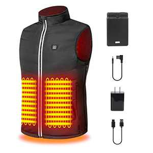 Sukeer Heated Vest USB Heating Jacket Body Warmer Heating Clothing with 5 PCS Built-in Heating Therapy Pad in Cold Winter Outdoor Activities Hunting Camping Hiking Skiing