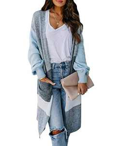 Boncasa Women's Long Sleeve Open Front Knit Sweater Cardigan Boho Strip Color Block Loose Knitted Sweaters Coat with Pockets Light Blue 24B5C-qianlan-L