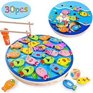 Joyjoz 30 Pcs Magnetic Fishing Games Toy, Toddler Wooden Educational Toys for Kids, Preschool Learning Toys Fish Board Games for Kids Boys Girls Birthday Gift, with Magnetic Poles, Dice