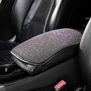 la chat Car Center Console Cover Bling Bling Car Auto Armrest Cover Charming Attractive Colorful Rhinestone Crystal Cushion Padfor Women