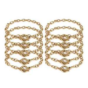 JIAYIQI 10 Pcs Charm Bracelet Chain for Jewelry Making with OT Toggle Clasp Stainless Steel Chain Link Bracelet Trendy Dainty for Women Gift 18K Gold 7.5 Inches