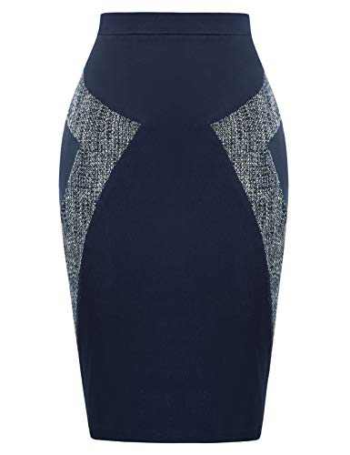 JASAMBAC Bodycon Pencil Skirt with Slit Wear to Work Knee Length Size M Navy Blue