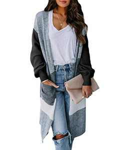 Boncasa Women's Open Front Long Cardigan Strip Color Block Long Sleeves Lightweight Knit Fall Outwear Sweater Coats Black 24B5C-heise-L