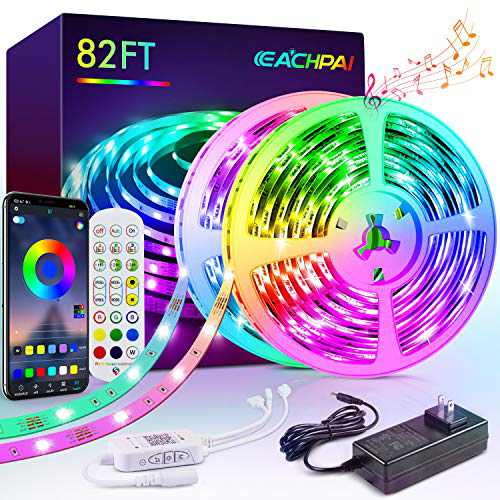 LED Strip Lights, EACHPAI 82ft/25m Smart Led Light Strips Music Sync, Color Changing RGB Light Strip, Bluetooth/24 Key Remote/Switch Control Led Lights for Bedroom, Home Decoration, Party, Festival
