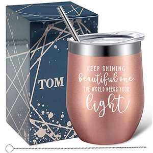 Tom Boy Thinking of You Gifts, Inspirational Gifts for Women, Keep Shining Beautiful One The World Needs Your Light, Stainless Steel Wine Tumbler 12oz, Birthday Gifts for Women