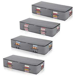 Extra Large Foldable Under Bed Storage Bags Containers [4 Pack]Large Blankets Clothes Comforters Underbed Storage Bags Zippered Organizer for Bedroom with Clear Window Thicker Fabric Grey 38x17x8 inch