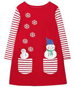 Fiream Toddler Girls Casual Dress Cotton Long Sleeve Shirt for Kid(JP205,6-7Y)