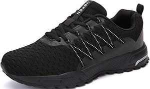 KUBUA Mens Running Shoes Womens Walking Gym Training Shoes Fitness Jogging Athletic Casual Footwear Sneaker C Black 6 Women/5.5 Men