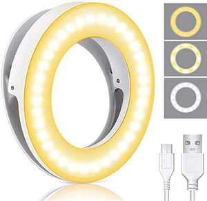 Selfie Ring Light, MCHEETA Portable Phone Ring Light, Rechargeable Clip on Selfie Fill Light for iPhone, Laptop, Cell Phone, Computer and Video Conferencing