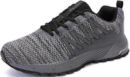 KUBUA Mens Running Shoes Womens Trail Running Shoes Fitness Jogging Athletic Casual Footwear Sneakers C Grey 6 Women/5.5 Men
