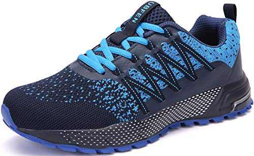 KUBUA Mens Running Shoes Womens Walking Gym Training Shoes Fitness Jogging Athletic Casual Footwear Sneaker B Blue 7.5 Women/6.5 Men