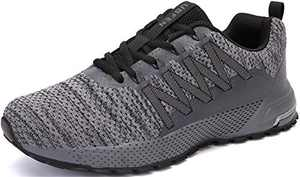 KUBUA Mens Running Shoes Womens Trail Running Shoes Fitness Jogging Athletic Casual Footwear Sneakers C Grey 14 Women/13 Men