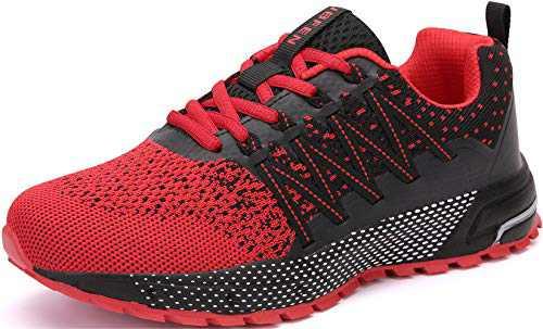 KUBUA Mens Running Shoes Womens Walking Gym Training Shoes Fitness Jogging Athletic Casual Footwear Sneaker B Red 12.5 Women/11 Men