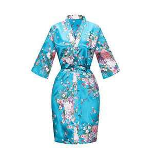 SEALINF Women's Floral Bridal Robe Bride Bridesmaid Short Kimono Dressing Gown Sleepwear for Wedding Getting Ready (Acid Blue, Large-X-Large)