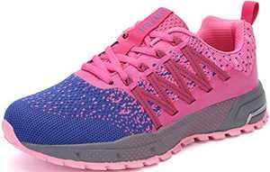 KUBUA Mens Running Shoes Womens Walking Gym Training Shoes Fitness Jogging Athletic Casual Footwear Sneaker B Purple 8.5 Women/7 Men