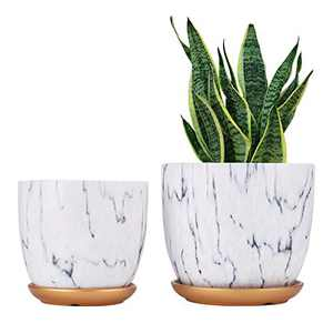 """7 Inch Plant Pot with Drainage and Saucer, 5.5 Inch Ceramic Planters Indoor Plants, Flower Pot Outdoor, Matte Marble Indoor Pots for Plants (7""""+5.5"""" Plant Pot and Gold Saucers Included)"""