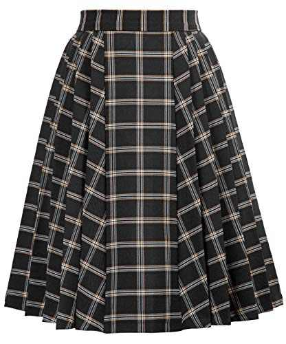 Women's Vintage Plaid A-line Swing Skirt for Cocktail Party Black Size XL