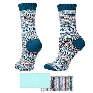 SISOSOCK Women Winter Socks 5 Pairs Thick Knit Wool Soft Warm Casual Socks Vintage Style Colorful Socks for Women Free Size (Multicolor-5)