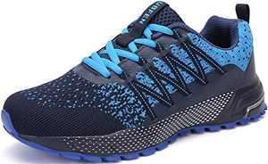 KUBUA Mens Running Shoes Womens Walking Gym Training Shoes Fitness Jogging Athletic Casual Footwear Sneaker B Blue 13 Women/12 Men