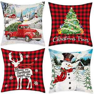 """Bonsai Tree Christmas Pillow Covers, Red Truck Snowman Couch Throw Covers 18""""x18"""", Merry Christmas Tree Buffalo Plaid Deer Winter Linen Pillow Cases Home Decorations for Sofa Set of 4"""