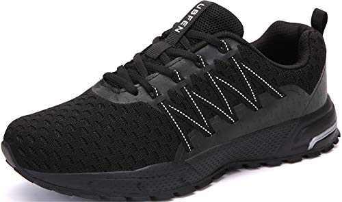 KUBUA Mens Running Shoes Womens Walking Gym Training Shoes Fitness Jogging Athletic Casual Footwear Sneaker C Black 14 Women/13 Men
