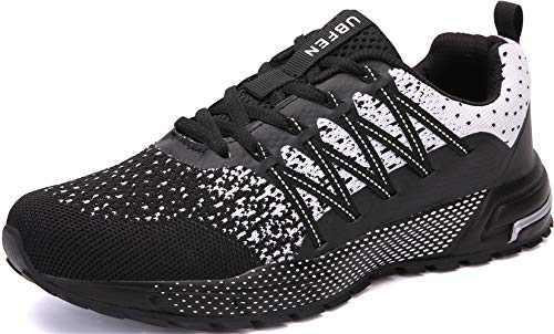 KUBUA Mens Running Shoes Womens Walking Gym Training Shoes Fitness Jogging Athletic Casual Footwear Sneaker B WhiteBlack 13 Women/12 Men