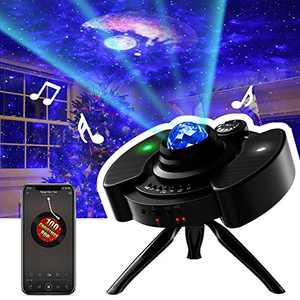 Star Projector, Night Light Galaxy Projector LED Lamp with Bluetooth Music Speaker Nightlight with Brightness Adjustment & 360 °Tripod for Kids Bedroom Decor, Home Theater, Game Rooms or Party