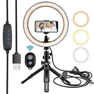 Lesirit Selfie Ring Light with Stand USB Power LED Ring Light with Phone Holder for Vlog Makeup Video (Black-A)