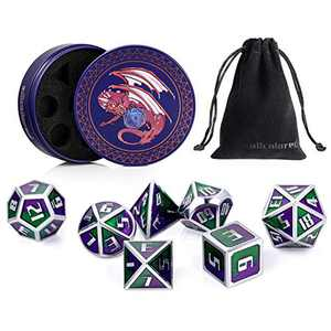 ALLCOLORED 7pcs Metal DND Dice Standard 16mm Set Green Purple Silver Polyhedral D&D Dice with Metal Case and Velvet Bag for Playing Tabletop Roleplay Games Dungeons and Dragons