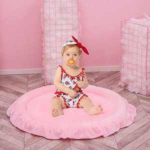 Dreamsoule Round Kids Rugs, Round Lace Soft Baby Floor Play Mat Kids Tent Mat Thick Area Rug for Boys and Girls Bedroom Playroom Home Decor Carpet, Large Nursery Mat Diameter 100cm/39.4inch (Pink)
