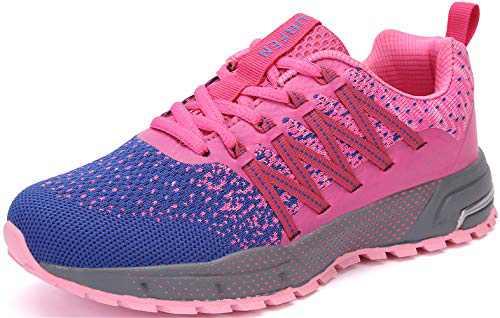 KUBUA Mens Running Shoes Womens Walking Gym Training Shoes Fitness Jogging Athletic Casual Footwear Sneaker B Purple 6.5 Women/6 Men