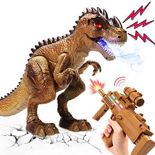 Remote Control Dinosaur Toys for Kids, RC T Rex React to Shooting, Spraying & Walking Dinosaur with Sound and Light, Birthday Gifts for 2 3 4 5 Year Old Boys