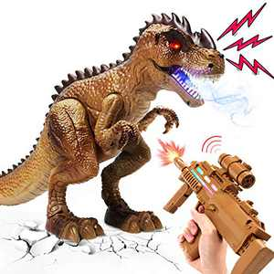 Remote Control Dinosaur Rifle Toys for Kids Spray & React to Shooting, Walking Dinosaur Toys with Light & Roaring, RC T rex Electronic Tyrannosaurus Gift for Toddler Child Boys Girls Age 2+ Year Old