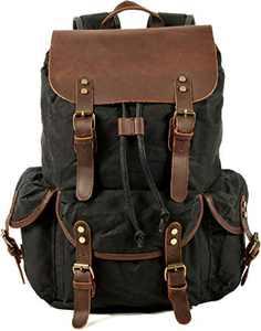 HuaChen Canvas Leather Backpack for Men Women,Vintage Travel Waxed Rucksack,Large Daypack for Laptop School Bag (M80_Black)