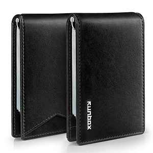 RUNBOX Slim Wallets for Men RFID BLOCKING Leather Stylish Bifold Mens Minimalist Wallet with Clip…