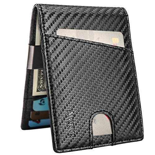 Mvgges Money Clip Wallet for Men Slim Front Pocket RFID Blocking Card Holder Minimalist Bifold Wallet (Carbon Fiber)