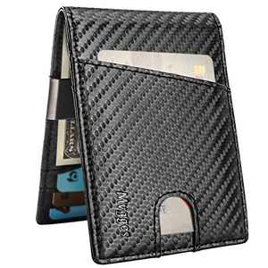 Mvgges Money Clip Wallet for Men Slim Front Pocket RFID Blocking Card Holder Minimalist Bifold Wallet (Carbon Fiber)