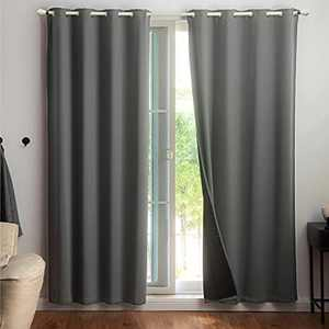 Bedsure 100% Blackout Curtains 84 inches Long - Grey Blackout Curtains for Bedroom 2 Panel Set, Soundproof and Thermal Insulated Curtains, 52x84 inches