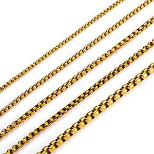 MEMGIFT 18K Real Gold Plated Box Chain Necklaces for Women Men Teen Girls Boys Stainless Steel Length 16 Inches Width 3.5 MM Box Link Simple Jewelry Birthday Gifts for Mom Dad Best Friend Sister Wife