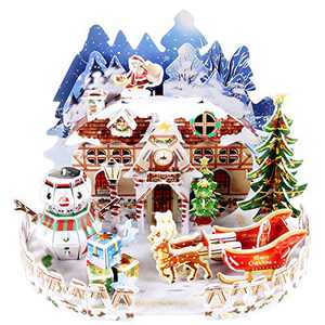 3D Puzzle for Kids Snow Cottage Model Kits Jigsaw Puzzles Family Toys Brain Teaser Puzzles for Boys and Girls,Desk Room Decor Holiday Birthday Easter Gifts